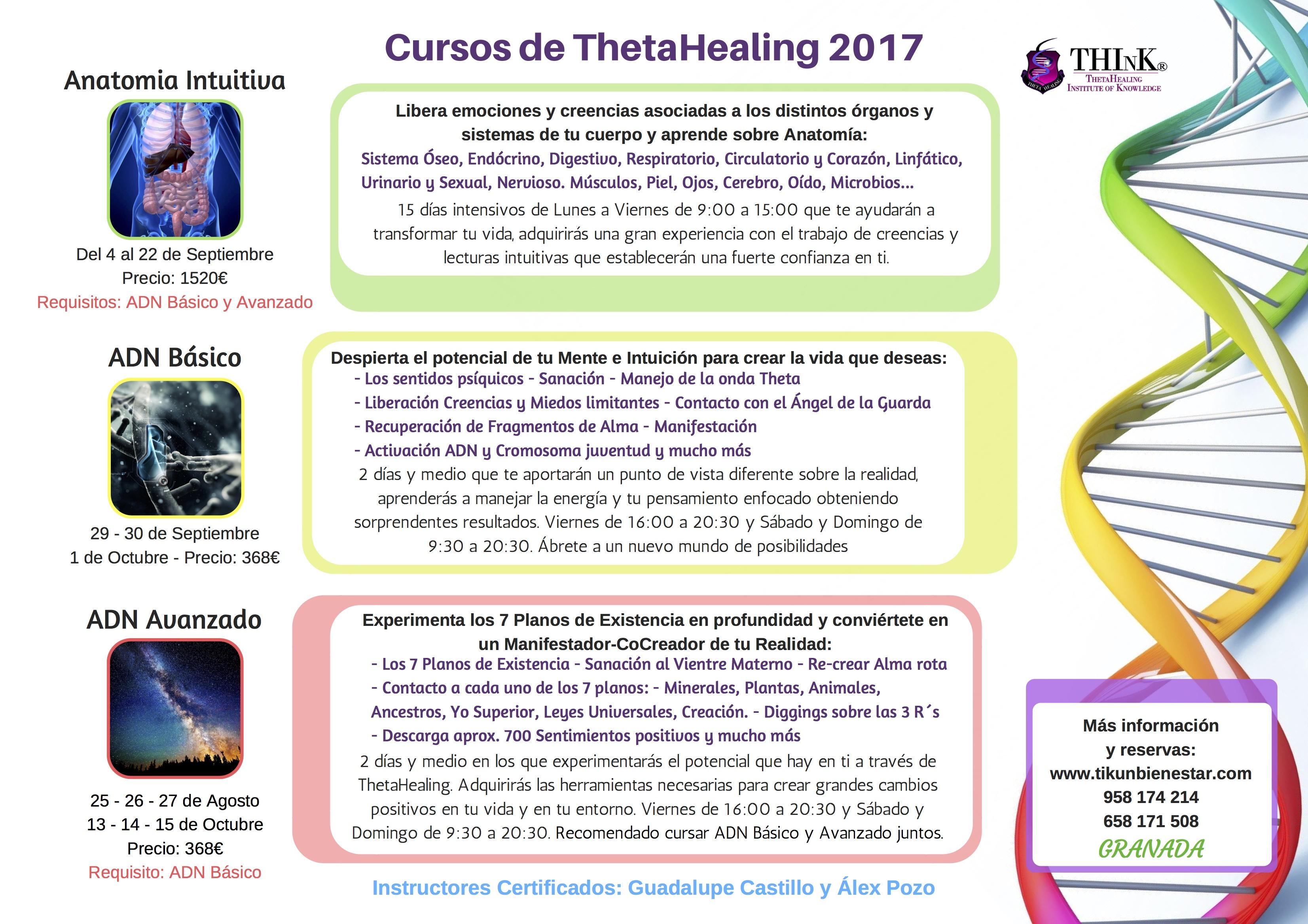 Cursos de ThetaHealing 2017- GRANADA desarrollo personal espiritual intuiticion facultades psiquicas creencias angel de la guarda ancestros anatomia